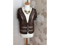 Brown crochet cover up