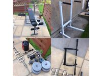 Folding Weight Bench, Dipping Station, Weights, Dumbbells, Barbell