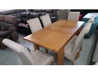 Julian Bowen Astoria Extending Oak Dining Table & 6 Rio Fabric Scroll Back Dining Chairs