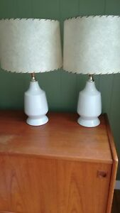 MID CENTURY WHITE LAMPS PAIR
