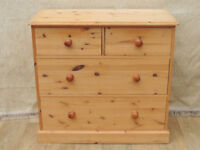 Quality wooden chest of drawers Welsh pine Glass top (Delivery)