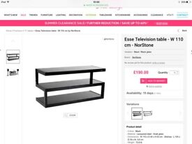 Glass tv stand, esse, norstone Modern table