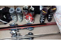 Two Sets of Skis and Three Ski Boots for Sale - Good Condition
