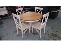 New Ex Display Julian Bowen Davenport Round Pedestal Dining Table & 4 Chairs Can Deliver