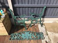 Cast iron garden bench back and ends