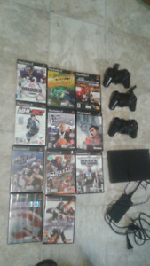 Ps2 slim with ten games three controllers