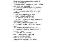 Huge joblot designer sinks tv stands shop clearance see list in pics over £3299 worth