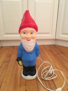 colourful kitschy plastic gnome lamp