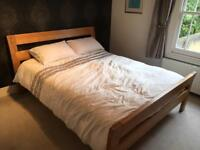 Solid oak king size bed and mattress