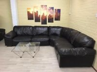 Large Chocolate Brown Leather Corner Sofa