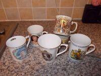 6 Silver jubilee queen mugs