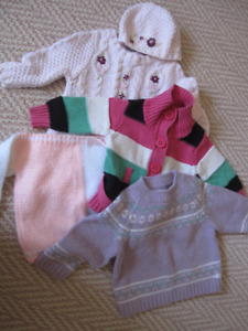 4 Warm Winter Sweaters, Size 6-9 Months