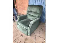 ElECTRIC RISE AND RECLINE CHAIR (IN GREEN CORD)