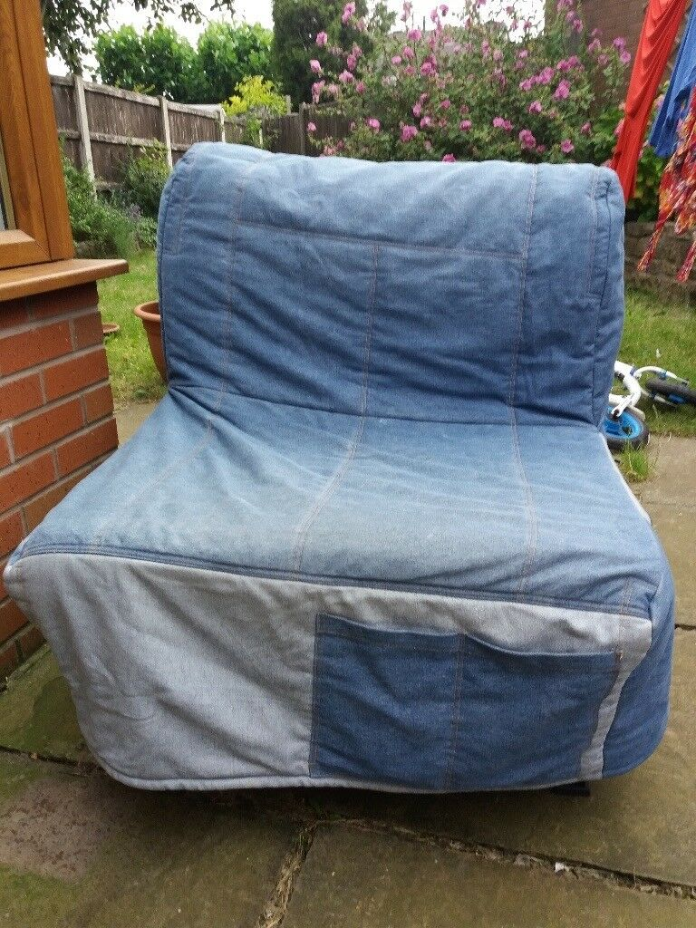 Ikea Lycksele Single Sofa Chair Bed With Denim Cover In