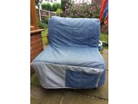 Ikea LYCKSELE Single Sofa Chair Bed with Denim Cover