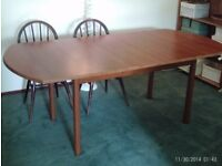 large extending dining table, 195x92 and 150x92cm