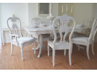 !!! WOW !!! *** SUMMER DEAL *** !!! UNUSUAL !!! French Shabby Chic Dining Table & Six Chairs !!!