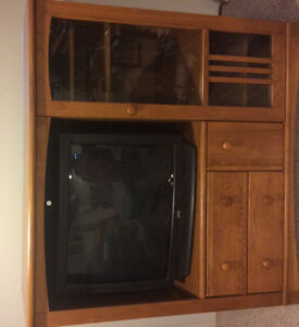 Solid Oak Entertainment Unit with TV