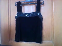 """Black velvet """"Minuet"""" evening SKIRT AND TOP size 12 AS NEW measurements in ad"""