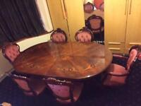 Italian style oval solid wood table and 6 chairs
