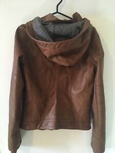 Brown faux-leather military jacket