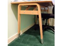 Ikea office desk, white top, birch wood legs, 130 x 70cm
