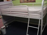 Next Molly Single Mid Sleeper Bed, pink and white metal frame, good condition, inc. instructions
