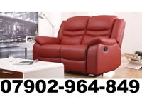 2+2 SEATER NEW LEATHER RECLINER SOFAS IN RED 2