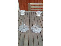 pair glass candle holders