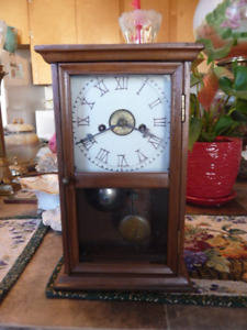 Antique Working Wood Case Shelf/ Mantle Clock With Alarm