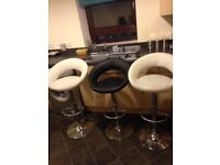 3 KITCHEN BREAKFAST BARSTOOLS GAS LIFT FAUX LEATHER. BARGAIN £20.00 FOR ALL 3
