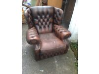 Leather Chesterfield monks chair