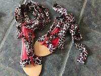 womens black white and red sandals- brand new and boxed