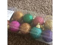 10 Xmas Glitter Baubles