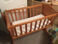 Mamas and papas rocking crib with new mattress