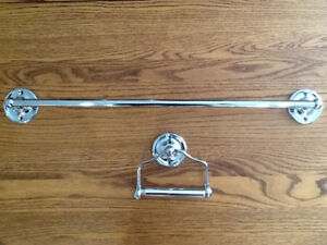 "24"" CHROME TOWEL BAR AND TOILET ROLL HOLDER"