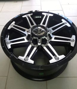 "4 NEW *** 18"" 5x5/ 5x114.3 BLACK/MACHINED WHEELS"