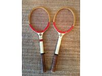 Lovely Vintage Pair Of Adult Lindop Yeovil Wooden Tennis Racquets