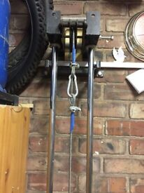 Heavy Duty Lat Pulldown Machine. Pulleys above and below allowing a range of exercises.