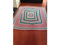 Leeds Fest granny or festival blanket crocheted trendy throw - lovely item hand made 40 years ago
