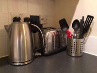 Kitchen, Flat Starter Pack: Toaster, kettle, saucepans, crockery, wine glasses