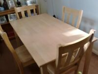 Beech Dining table and 4 chairs