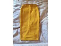Mustard pencil skirt- size 6/XS