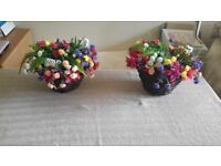 2x Hanging Flower Baskets Handmade Artificial Silk Flower Hanging Basket (MINI CARNATION