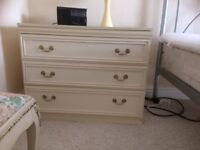 Chest of drawers 3drawers and matching bedside cabinet