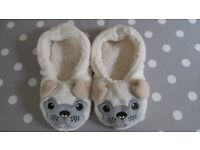 Pug Cosy Slippers - Size Small (3-4)