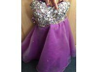 Purple prom wedding occasion dress diamanté embellished