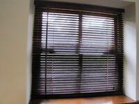 Wood Venetian Blind - burgundy coloured fit window 89cm W x 86cm H or smaller
