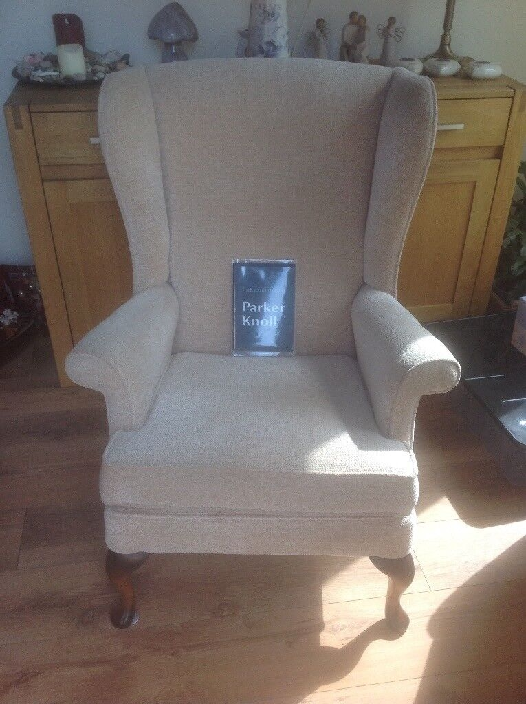 PARKER KNOLL UPRIGHT ARMCHAIRin Kelty, FifeGumtree - PARKER KNOLL UPHOLSTERED ARMCHAIR IN BEIGE FABRIC WITH MAHOGANY WOODEN LEGS. EXCELLENT CLEAN CONDITION. ONLY USED FOR A SHORT TIME IN A SMOKE FREE, PET FREE HOME. COST £800