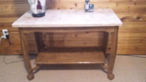 Hand built Oak and marble Console table